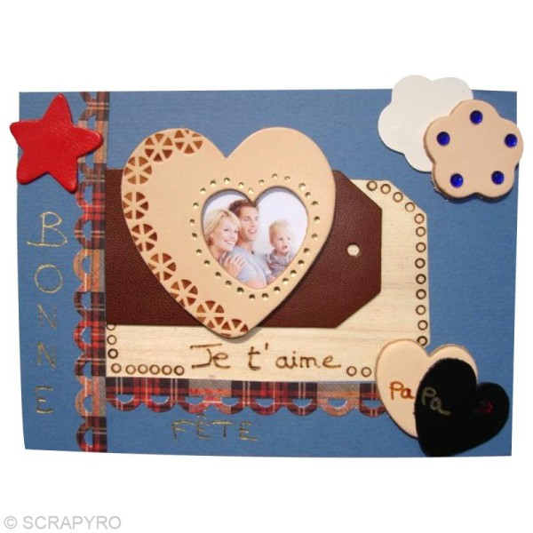 Coeur en cuir Naturel 6 cm et 3 cm - Lot de 8 - Photo n°2