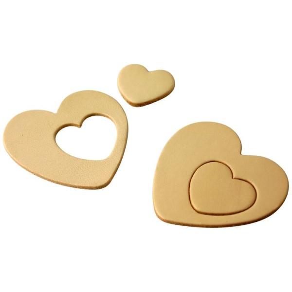 Coeur en cuir Naturel 6 cm et 3 cm - Lot de 8 - Photo n°1