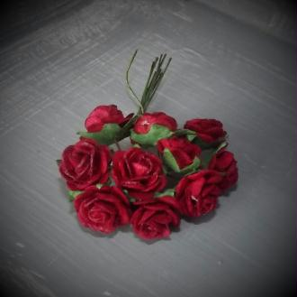 Bouquet 10 Roses Mulberry sur tige - Deep Red - 15 mm