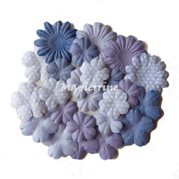 24 fleurs blossoms en papier scrapbooking décoration DOVECRAFT BLUE - Photo n°1
