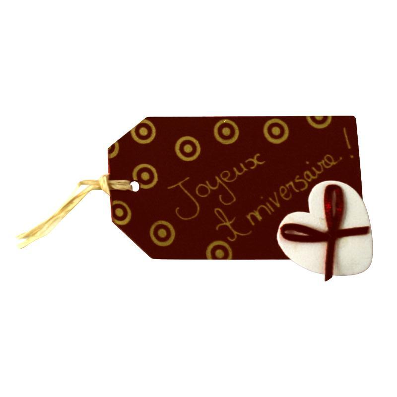 Etiquette en cuir Blanc et marron 8 x 4,5 cm - Lot de 4 - Photo n°3