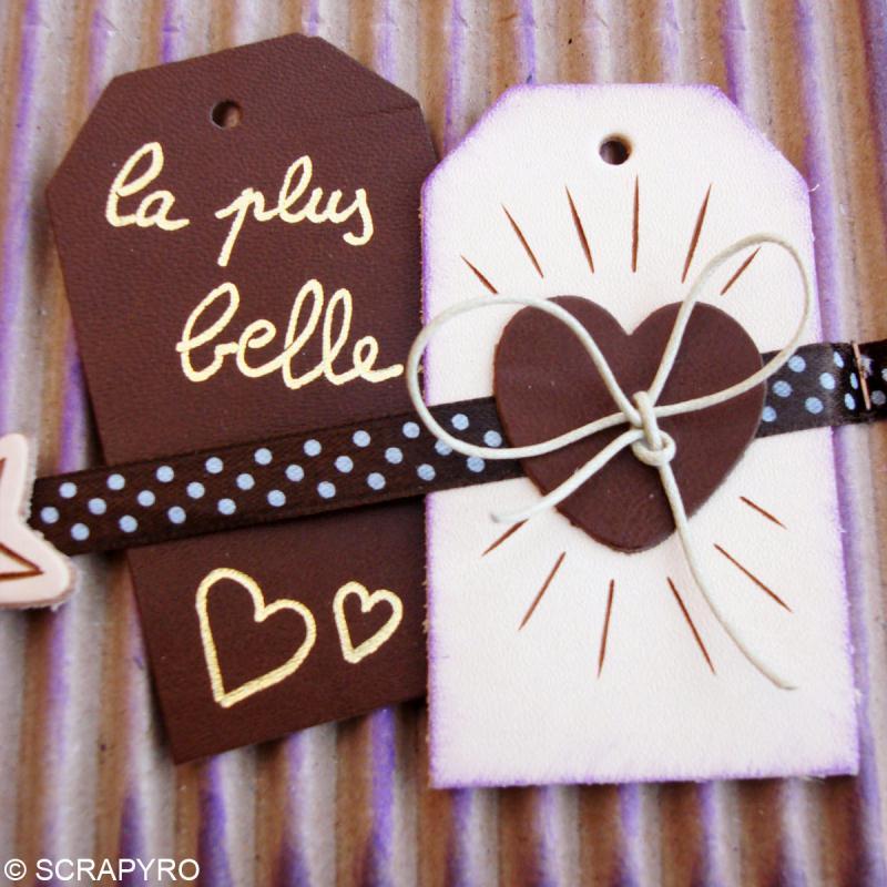 Etiquette en cuir Blanc et marron 8 x 4,5 cm - Lot de 4 - Photo n°4