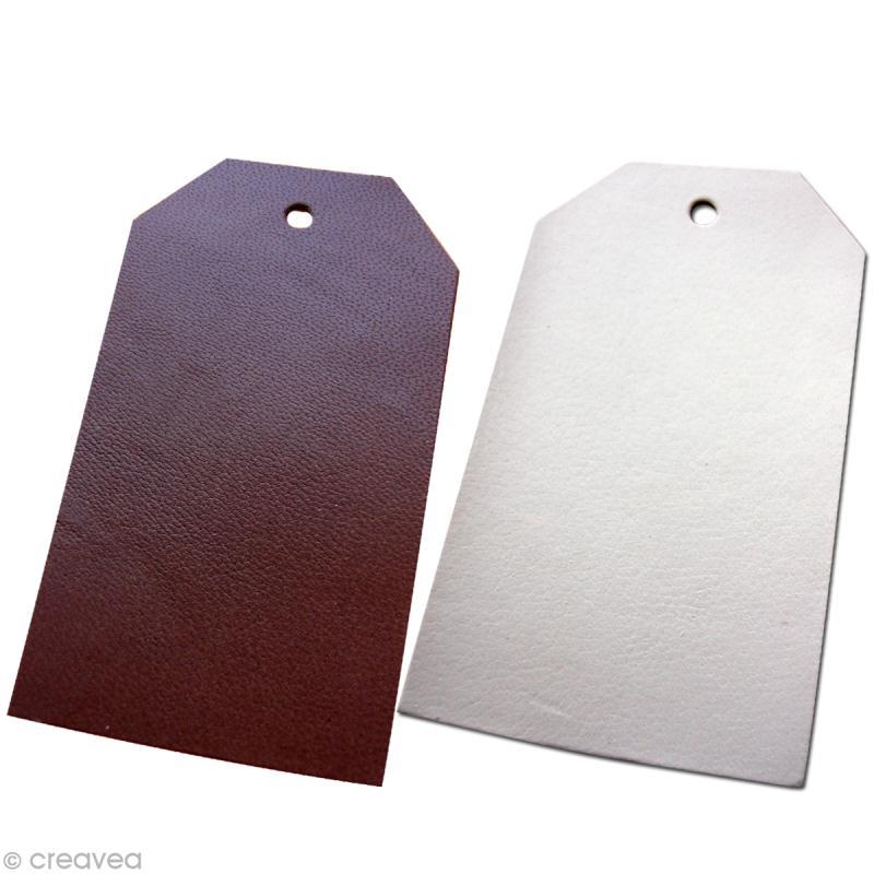 Etiquette en cuir Blanc et marron 8 x 4,5 cm - Lot de 4 - Photo n°1