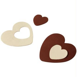 Coeur en cuir Blanc et marron 6 cm et 3 cm - Lot de 8