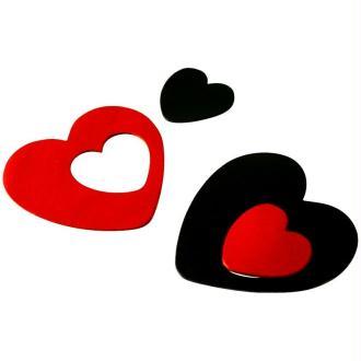 Coeur en cuir Rouge et noir 6 cm et 3 cm - Lot de 8