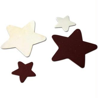 Etoile en cuir Blanc et marron 6 cm et 3 cm - Lot de 8