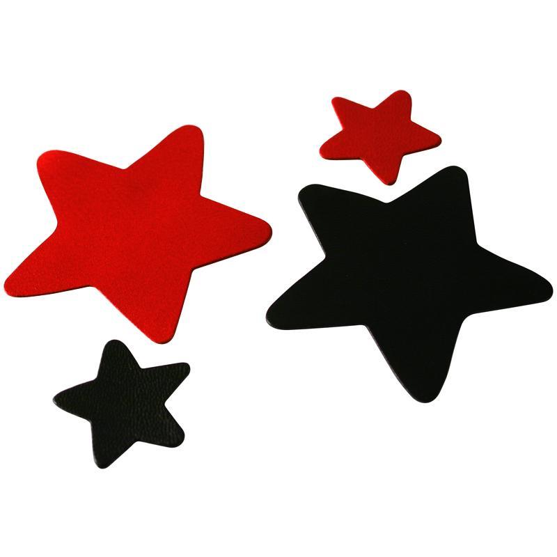 Etoile en cuir Rouge et noir 6 cm et 3 cm - Lot de 8 - Photo n°1