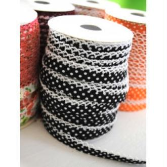 1 m de biais fantaisie replié et festonné de crochet 1.2 cm POIS BLANC FOND NOIR