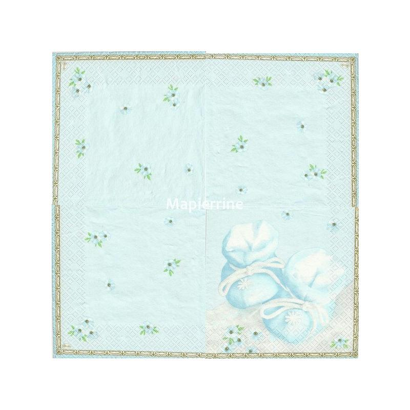 4 serviettes en papier d coupage collage 33 cm chausson bebe bleu ruban fantaisie creavea. Black Bedroom Furniture Sets. Home Design Ideas