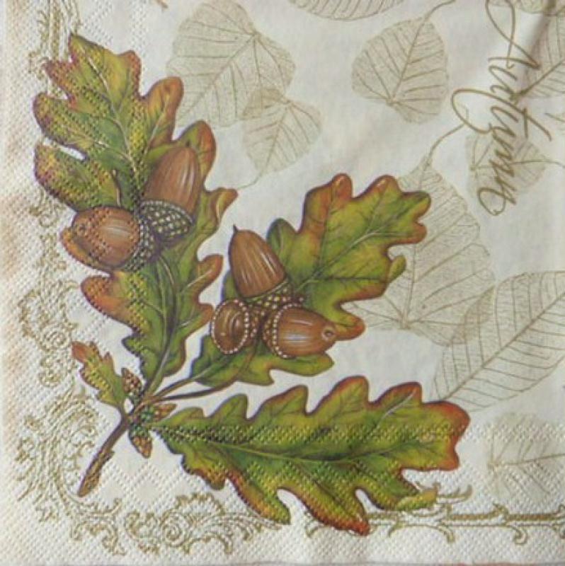 4 serviettes en papier d coupage collage 33 cm automne feuille gland 90 bande de jute creavea. Black Bedroom Furniture Sets. Home Design Ideas