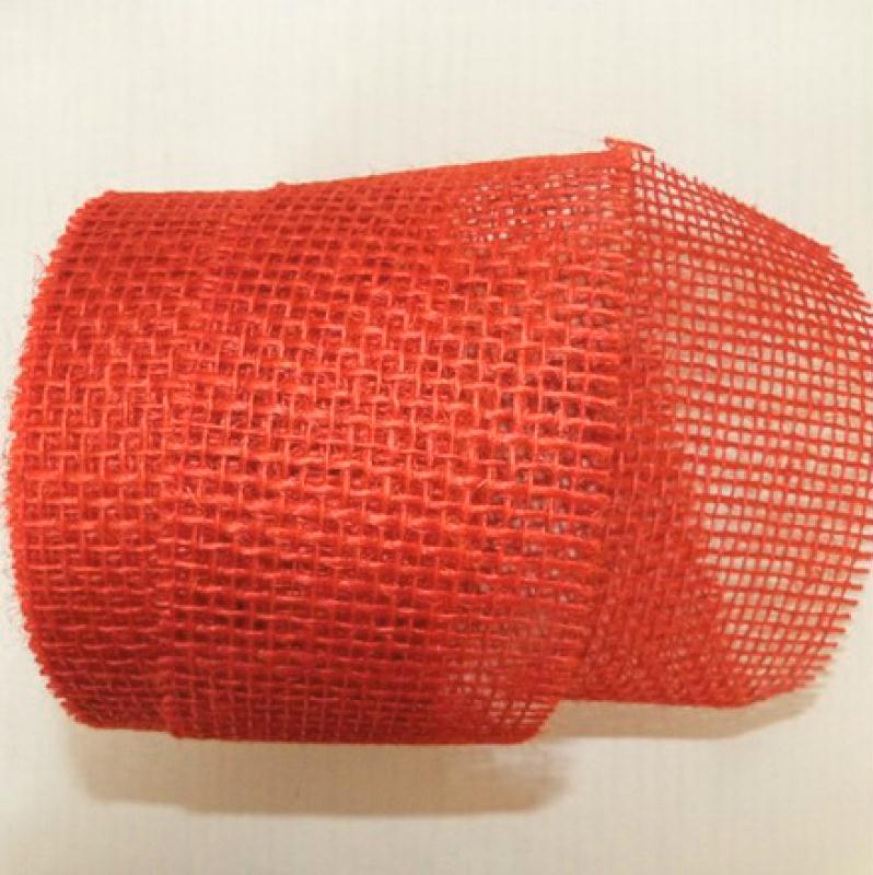 2 m tres de ruban de jute d coration 7 cm rouge bande de jute creavea. Black Bedroom Furniture Sets. Home Design Ideas