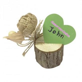 Lot de 2 Porte-cartes en Rondin de bois et Rose en jute et perles, Marque-place naturel de 4,5 à 5,5