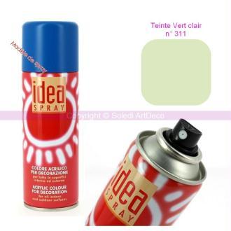Spray acrylique couleur Vert lair N°311, Bombe aérosol adaptée au polystyrè