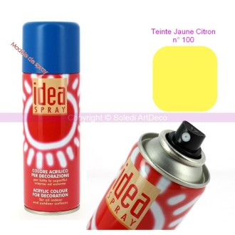 Spray acrylique couleur Jaune citron N°100, Bombe aérosol adaptée au polystyr&egra