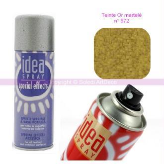 Spray acrylique couleur Or martelé N°572, Bombe aérosol adaptée au polystyr