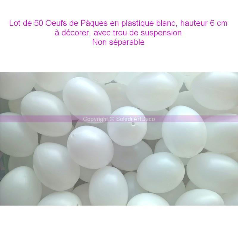 lot de 50 oeufs de p ques plastique blanc hauteur 6 cm d corer avec trou d oeuf. Black Bedroom Furniture Sets. Home Design Ideas