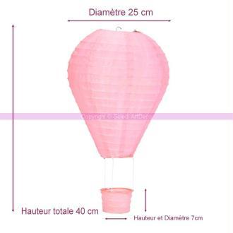 Montgolfière décorative en papier Rose Poudré, Haut. 40 cm, Diam. 25 cm, &agrav