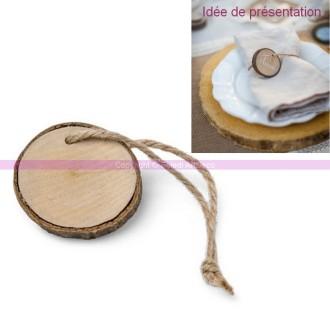 Lot de 6 rondins de bois 4.5cm tenus par une cordelette , produits 100% naturels, marque place ou ro