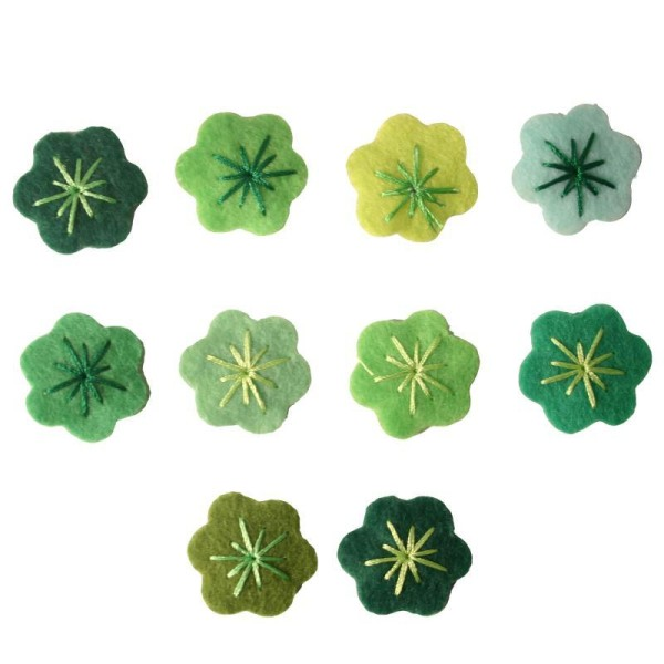 Petite fleur brodée en feutrine Adhésif 2 cm vert x10 - Photo n°1