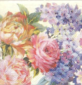 4 Serviettes en papier Fleurs peintes Roses Format Lunch