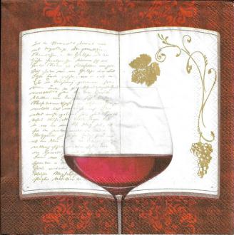 4 Serviettes en papier Vin Rouge Format Lunch