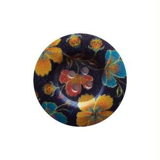 2 boutons ronds bois fantaisis couture scrapbooking 4 cm FLEUR BLEUE JAUNE