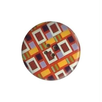 2 boutons ronds bois fantaisis couture scrapbooking 4 cm GEOMETRIE ORANGE BORDEAUX