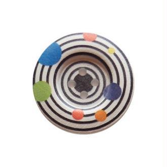 2 boutons ronds bois fantaisis couture scrapbooking 5 cm SPIRALE