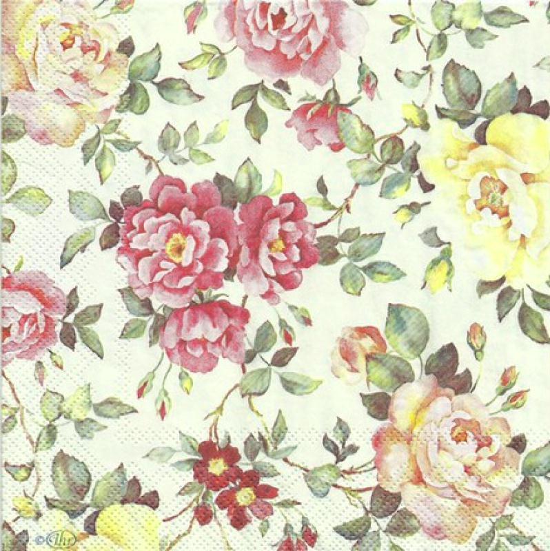 4 serviettes en papier d coupage collage fleur rose serviette fleurs creavea. Black Bedroom Furniture Sets. Home Design Ideas