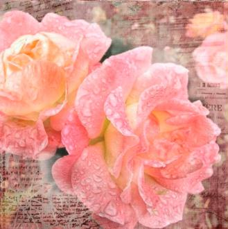 4 serviettes en papier découpage collage FLEUR ROSE
