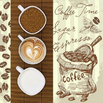 4 serviettes en papier découpage collage CAFE