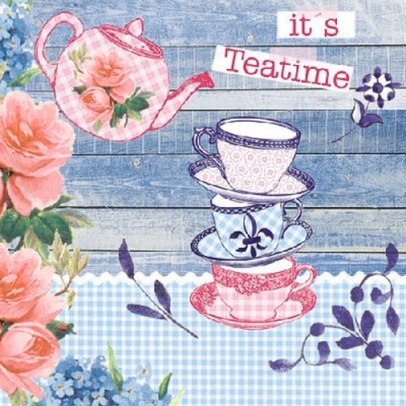 4 serviettes en papier d coupage collage it 39 s teatime serviette en papier divers creavea. Black Bedroom Furniture Sets. Home Design Ideas