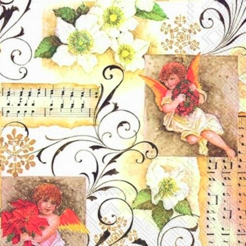 4 serviettes en papier d coupage collage noel ange musique 139 serviette en papier no l creavea - Decoupage papier deco noel ...