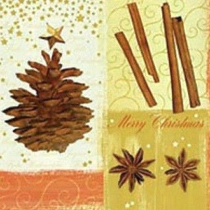 4 serviettes en papier d coupage collage noel pigne de pin anis cannelle 96 serviette en - Decoupage papier deco noel ...