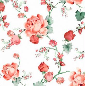 4 serviettes en papier découpage collage ROSE ROUGE