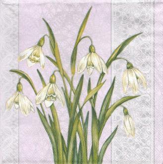 4 Serviettes en papier Fleurs Perce-neige Lunch
