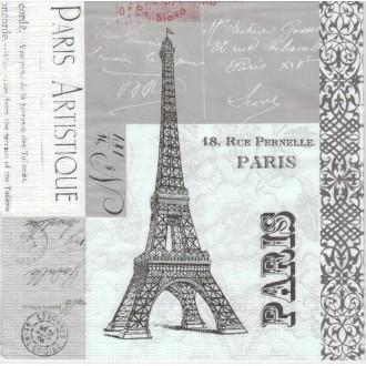 4 Serviettes en papier Paris Artistique Format Lunch
