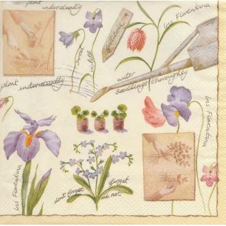 4 Serviettes en papier Fleurs Iris Jardin Lunch