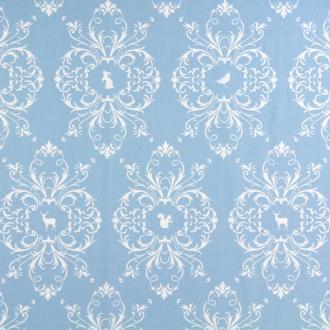 Tissu bleu grands motifs blancs gutterman