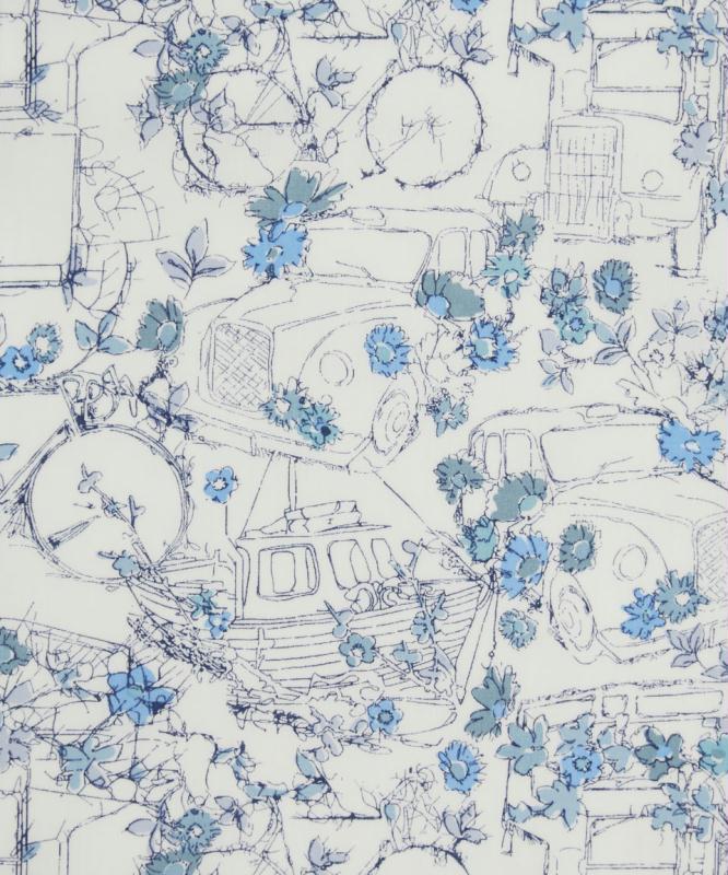 tissu liberty travelling theards blanc et bleu tissu fleuri creavea. Black Bedroom Furniture Sets. Home Design Ideas
