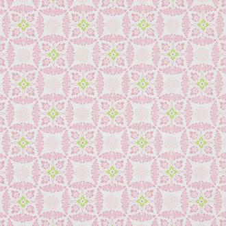 Tissu rose motifs blancs vert gutterman