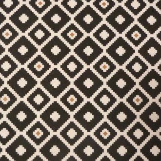 Tissu motifs géométriques noir blanc brun