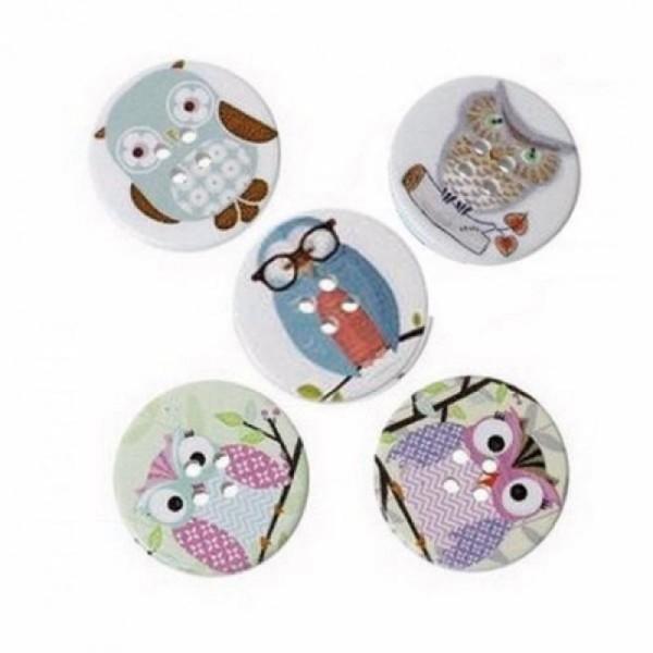 5 boutons ronds en bois 3 cm scrapbooking décoration HIBOUX