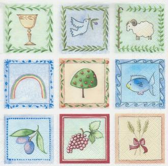 4 Serviettes en papier Communion Paix Format Lunch