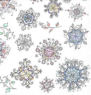 4 Serviettes en papier Motifs floraux Format Lunch