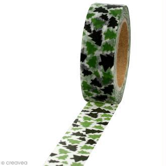 Masking tape Sapins verts sur fond blanc - 1,5 cm x 10 m