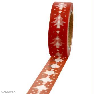 Masking tape Sapins blancs sur fond rouge - 1,5 cm x 10 m