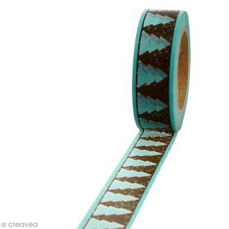 Masking tape Sapins marrons sur fond turquoise - 1,5 cm x 10 m