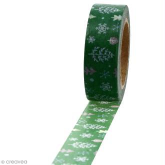 Masking tape Sapins et flocons sur fond vert - 1,5 cm x 10 m