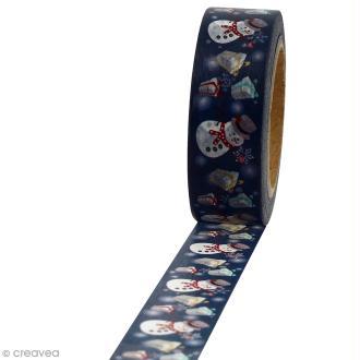 Masking tape Bonhomme de neige et cadeaux sur fond bleu foncé - 1,5 cm x 10 m